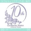 10周年記念,バラ,花,薔薇,月,美しいロゴマークデザインです。