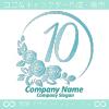 ナンバー10,バラ,花,フラワー,月,綺麗なロゴマークデザインです。