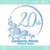 20周年記念,バラ,花,フラワー,月,綺麗なロゴマークデザインです。