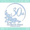 30周年記念,バラ,花,薔薇,月,美しいロゴマークデザインです。