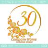 30,ナンバー,バラ,花,フラワー,月,綺麗なロゴマークデザイン