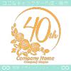 40周年記念,バラ,花,フラワー,月,綺麗なロゴマークデザインです。