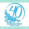 ナンバー40,バラ,花,フラワー,月,綺麗なロゴマークデザインです。