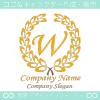 W文字,上品,最高クラス,黄色,クラシックなロゴマークデザイン