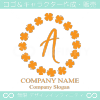 A文字,四葉のクローバー,幸運,リース,ラッキーのロゴマークデザイン