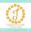 J文字,ラッキー,四葉のクローバー,幸運,リースのロゴマークデザイン