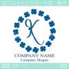 K文字,四葉のクローバー,幸運,リース,ラッキーのロゴマークデザイン