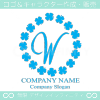 W文字,四葉のクローバー,幸運,リース,ラッキーのロゴマークデザイン