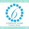 数字6,四葉のクローバー,リース,幸運,可愛いのロゴマークデザイン