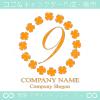 数字9,四葉のクローバー,リース,幸運,可愛いのロゴマークデザイン