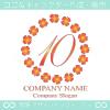 数字10,四葉のクローバー,リース,幸運,可愛いのロゴマークデザイン