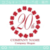 20周年記念,四葉のクローバー,リース,幸運のロゴマークデザイン