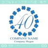 数字40,四葉のクローバー,リース,幸運,可愛いのロゴマークデザイン