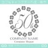 50周年記念,四葉のクローバー,リース,幸運のロゴマークデザイン