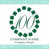 数字100,葉のクローバー,幸運,リース,可愛いのロゴマークデザイン