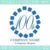 100周年記念,四葉のクローバー,リース,幸運のロゴマークデザイン