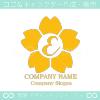 E文字,さくら,フラワー,桜,花のイメージのロゴマークデザインです。