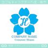 文字H,さくら,フラワー,桜,花のイメージのロゴマークデザインです。
