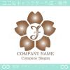 J文字,さくら,桜,花,フラワーのイメージのロゴマークデザインです。