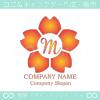 M文字,さくら,桜,花,フラワーのイメージのロゴマークデザインです。