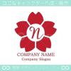 N文字,さくら,フラワー,桜,花をモチーフのロゴマークデザインです。