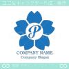 P文字,さくら,桜,花,フラワーのイメージのロゴマークデザインです。