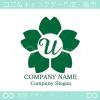 文字U,桜,さくら,フラワー,花のイメージのロゴマークデザイン