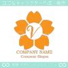 V文字,さくら,桜,花,フラワーのイメージのロゴマークデザインです。