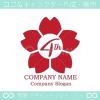 4周年記念,桜,さくら,花,フラワーの可愛いのロゴマークデザイン