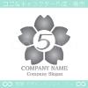 数字5,桜,さくら,フラワー,花のイメージのロゴマークデザイン
