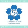 5周年記念,桜,さくら,花,フラワーの可愛いのロゴマークデザイン