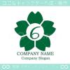 数字6,桜,さくら,フラワー,花のイメージのロゴマークデザイン