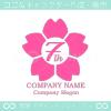 7周年記念,桜,さくら,花,フラワーの可愛いのロゴマークデザイン