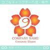 数字9,桜,さくら,フラワー,花のイメージのロゴマークデザイン