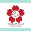 40周年記念,桜,さくら,花,フラワーの可愛いのロゴマークデザイン