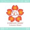 50周年記念,桜,さくら,花,フラワーの可愛いのロゴマークデザイン