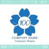 数字100,桜,さくら,フラワー,花をモチーフのロゴマークデザイン