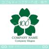100周年記念,桜,さくら,花,フラワーの可愛いのロゴマークデザイン