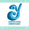 Y文字,青,アルファベットYのロゴマークデザインです。
