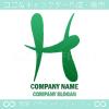 Hアルファベット,緑のイメージのロゴマークデザインです。