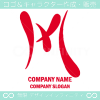 Mアルファベット,赤のイメージのロゴマークデザインです。