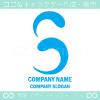 Sアルファベット,青のイメージのロゴマークデザインです。