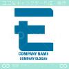 Eアルファベット,青のイメージのロゴマークデザインです。