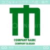 Mアルファベット,緑のイメージのロゴマークデザインです。