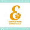 Eアルファベット,ハイビスカスのイメージのロゴマークデザインです。