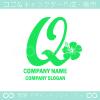 Qアルファベット,ハイビスカスのイメージのロゴマークデザインです。