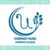 U文字,リーフ,ユニークなイメージのロゴマークデザインです。