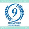 数字9,四葉のクローバー,幸運をモチーフのロゴマークデザイン