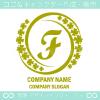 Fアルファベット,幸運,四葉のクローバーのロゴマークデザインです。
