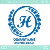 Hアルファベット,幸運,四葉のクローバーのロゴマークデザインです。